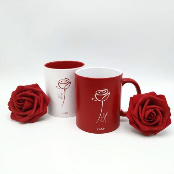 conjunto tazas rosa